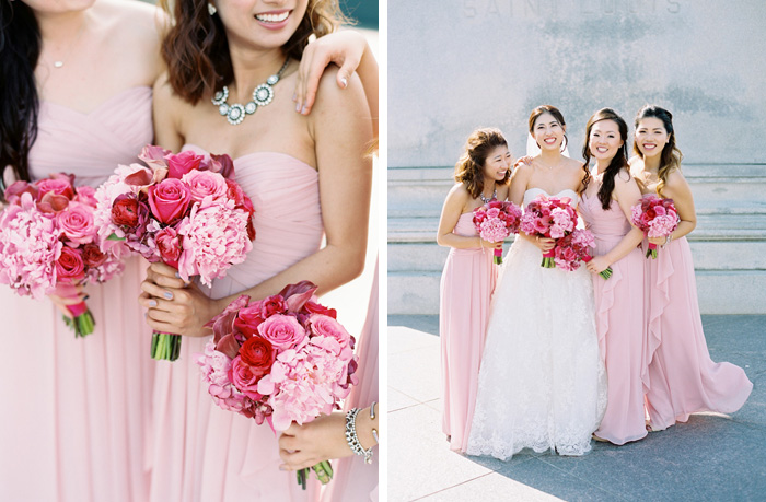 Bridesmaids with pink flowers