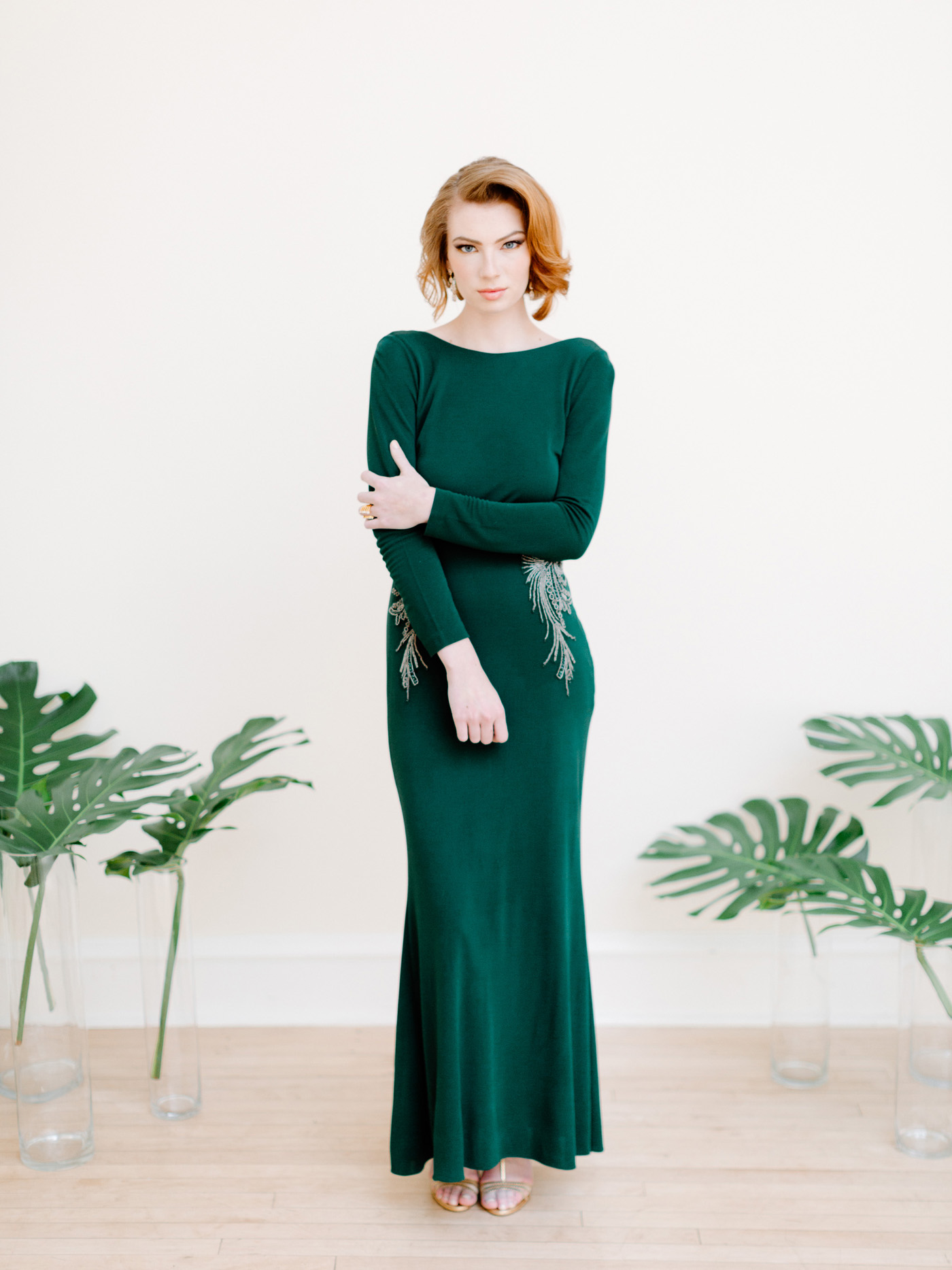 Art deco green wedding dress