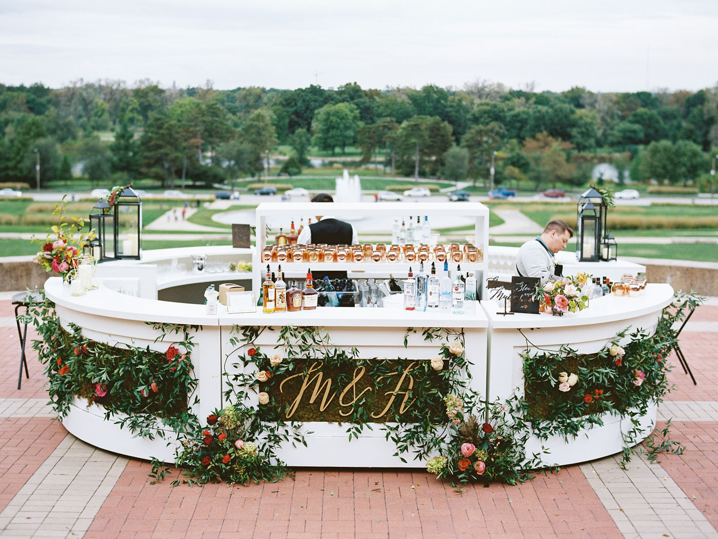Outdoor bar World's Fair Pavilion wedding