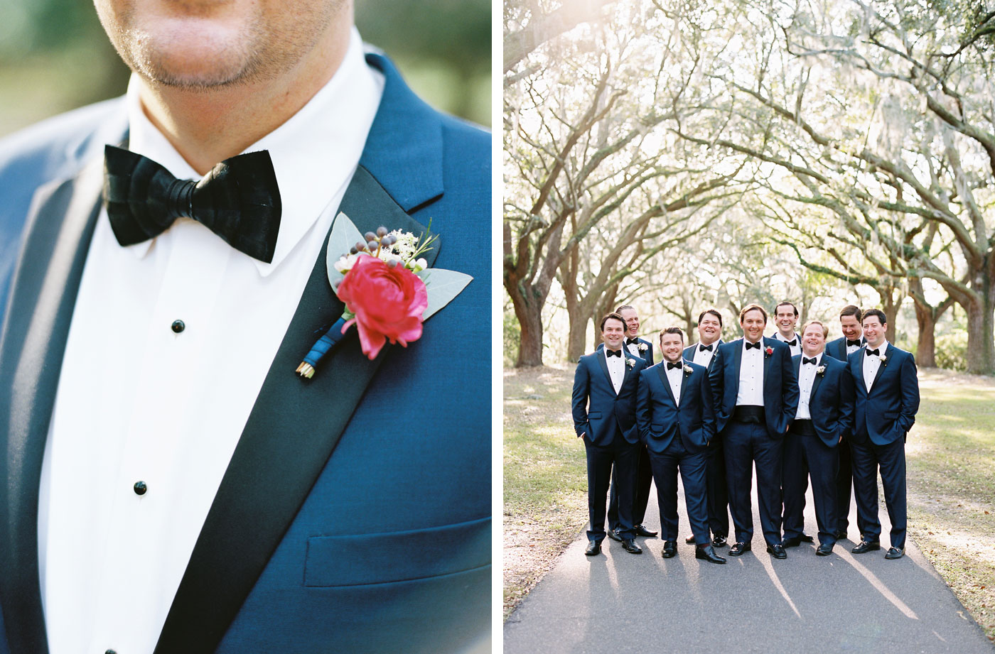 groomsmen under spanish moss