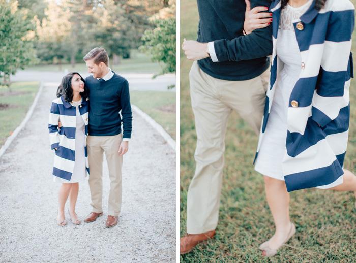 blue stripe coat engagement photos