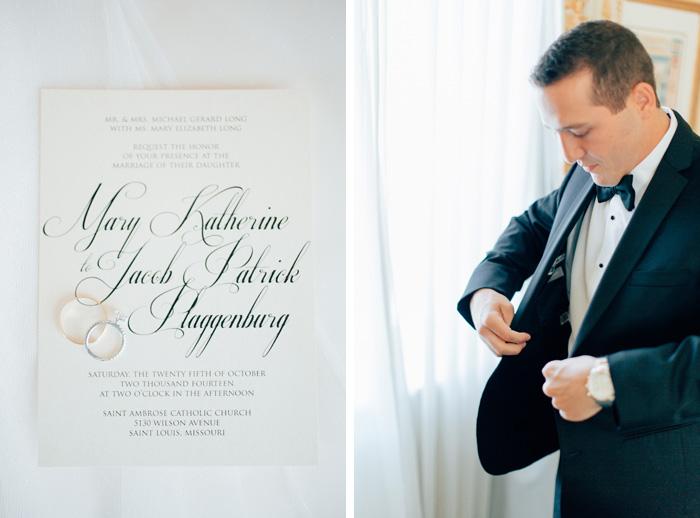 Groom getting ready and wedding invitation