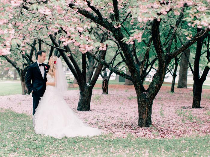 bride and groom redbud trees
