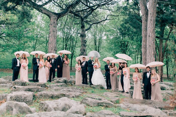 wedding party photo on rocks