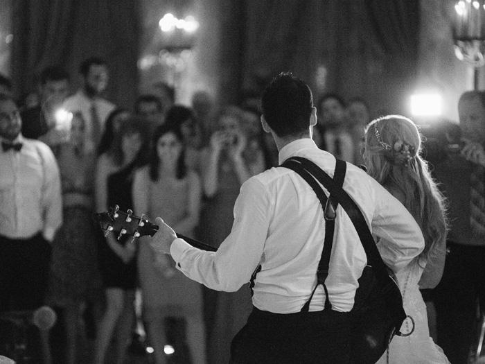 bride and groom singing together