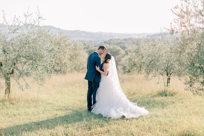 Bride and Groom in olive tree field