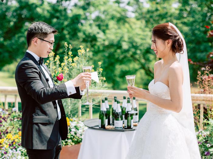 bride and groom toast