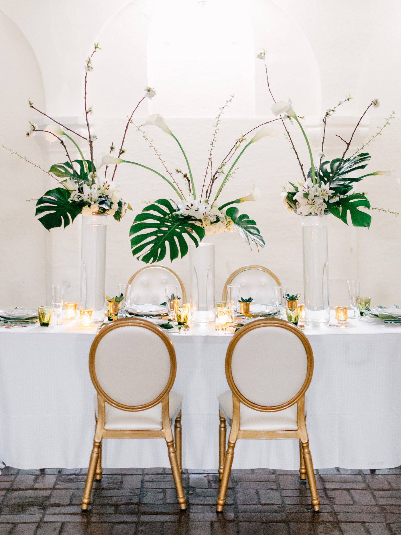 green gold and white wedding tables cape