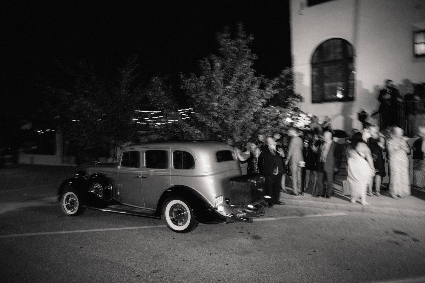 wedding exit car