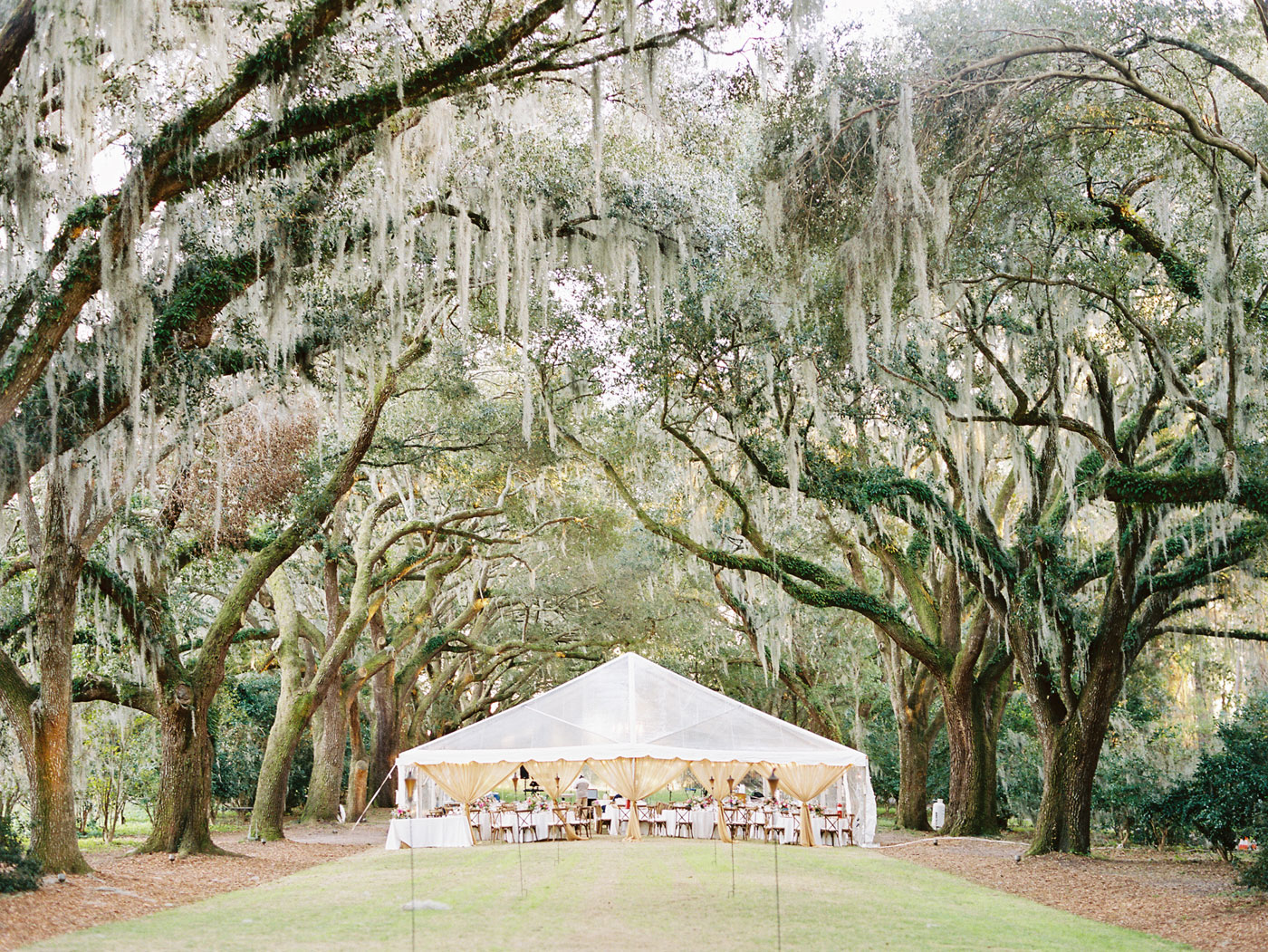 clear tent wedding at legare waring house