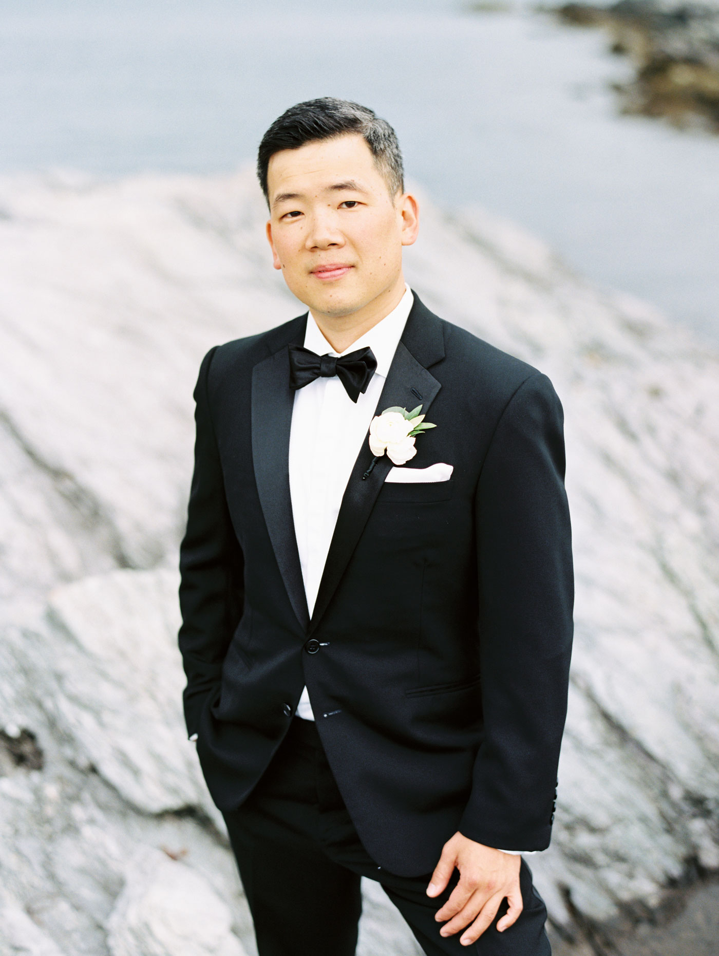 handsome groom at castle hill inn