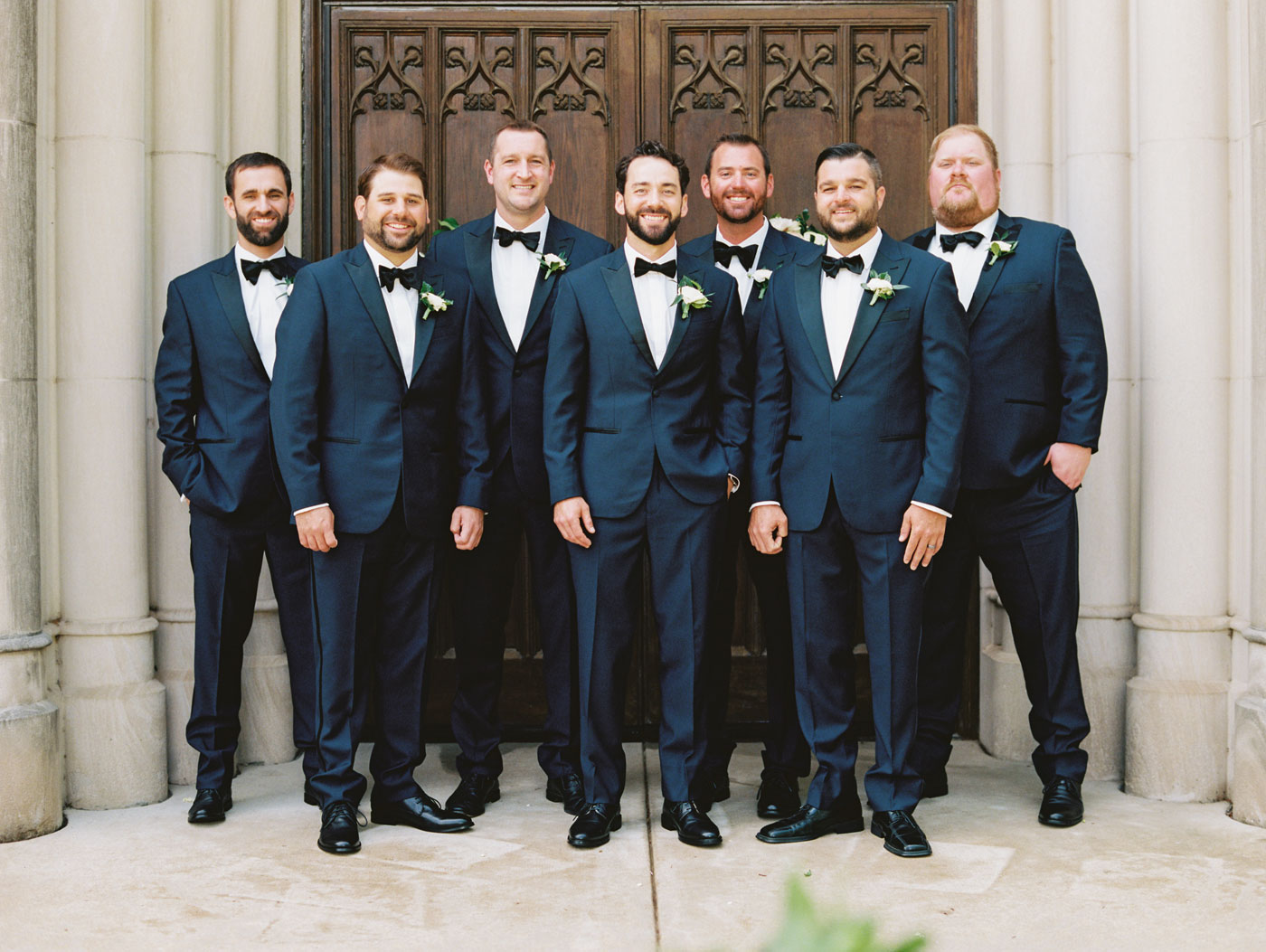 groomsmen portrait on film