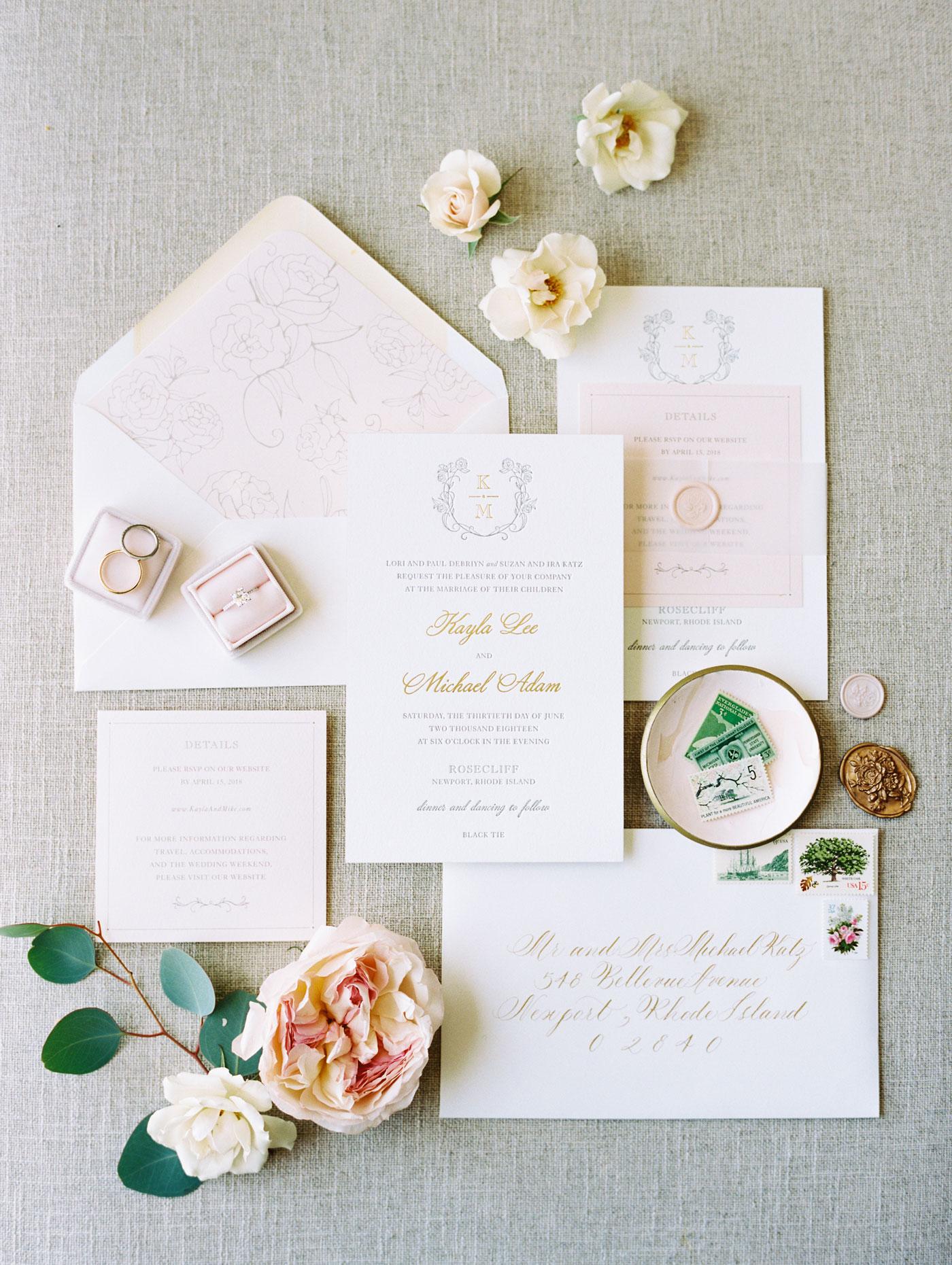 Newport wedding invitation flat lay
