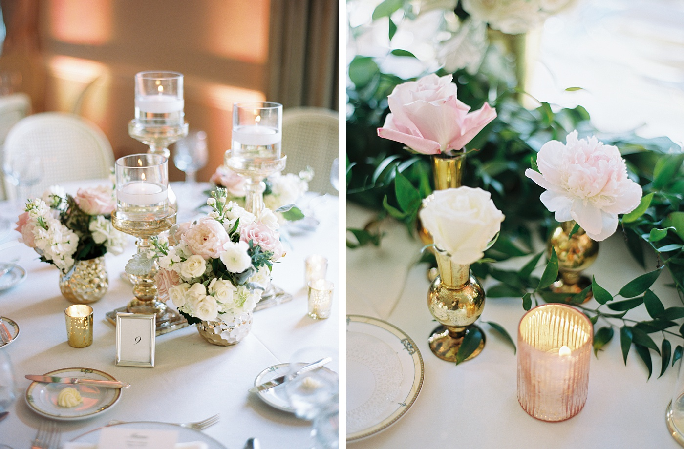 blush flowers country club wedding