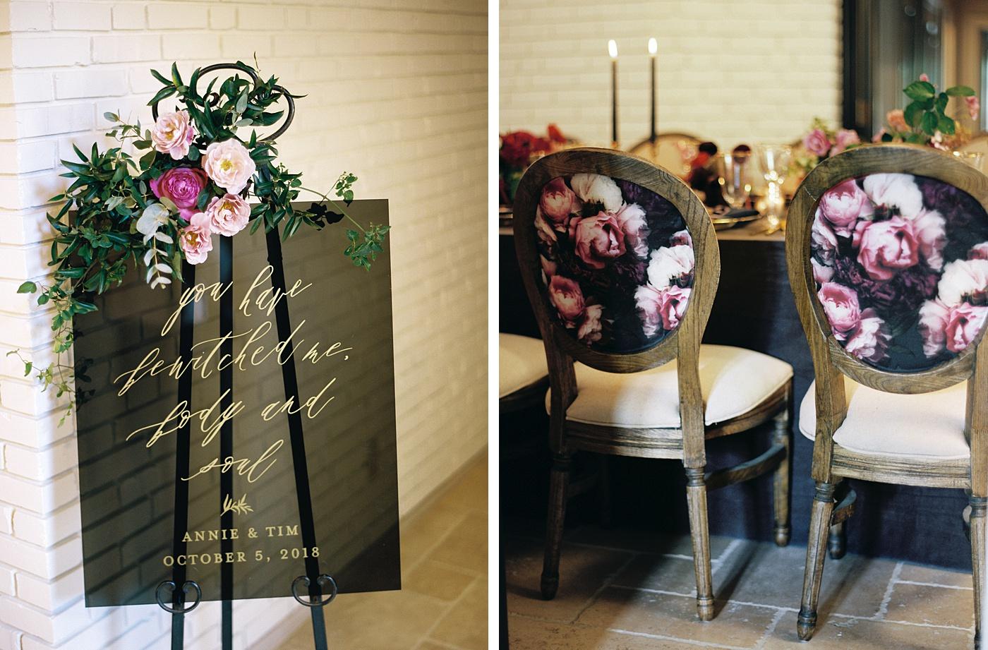 fine art wedding reception details