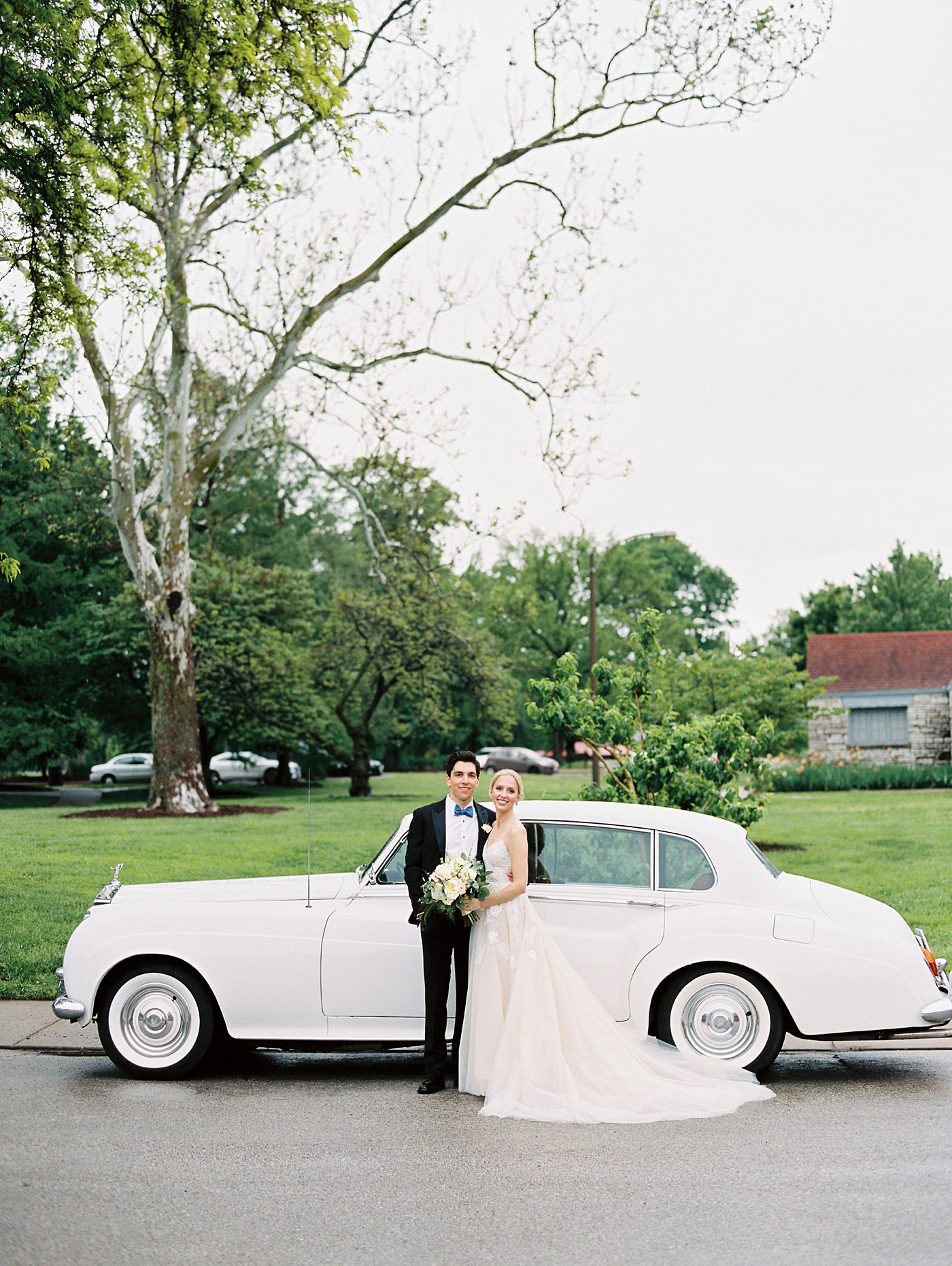 bride and groom classic car