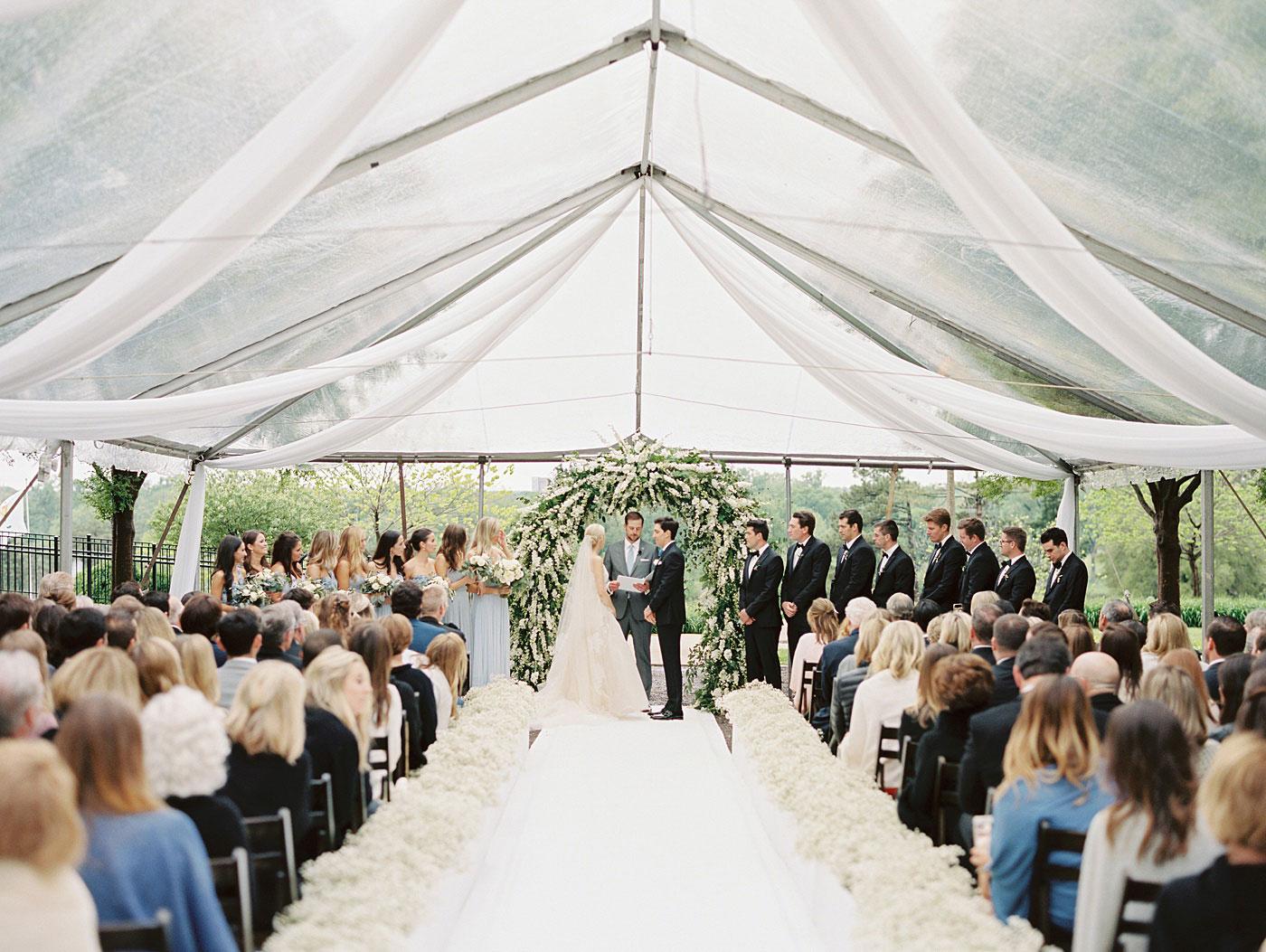 outdoor wedding at world's fair pavilion