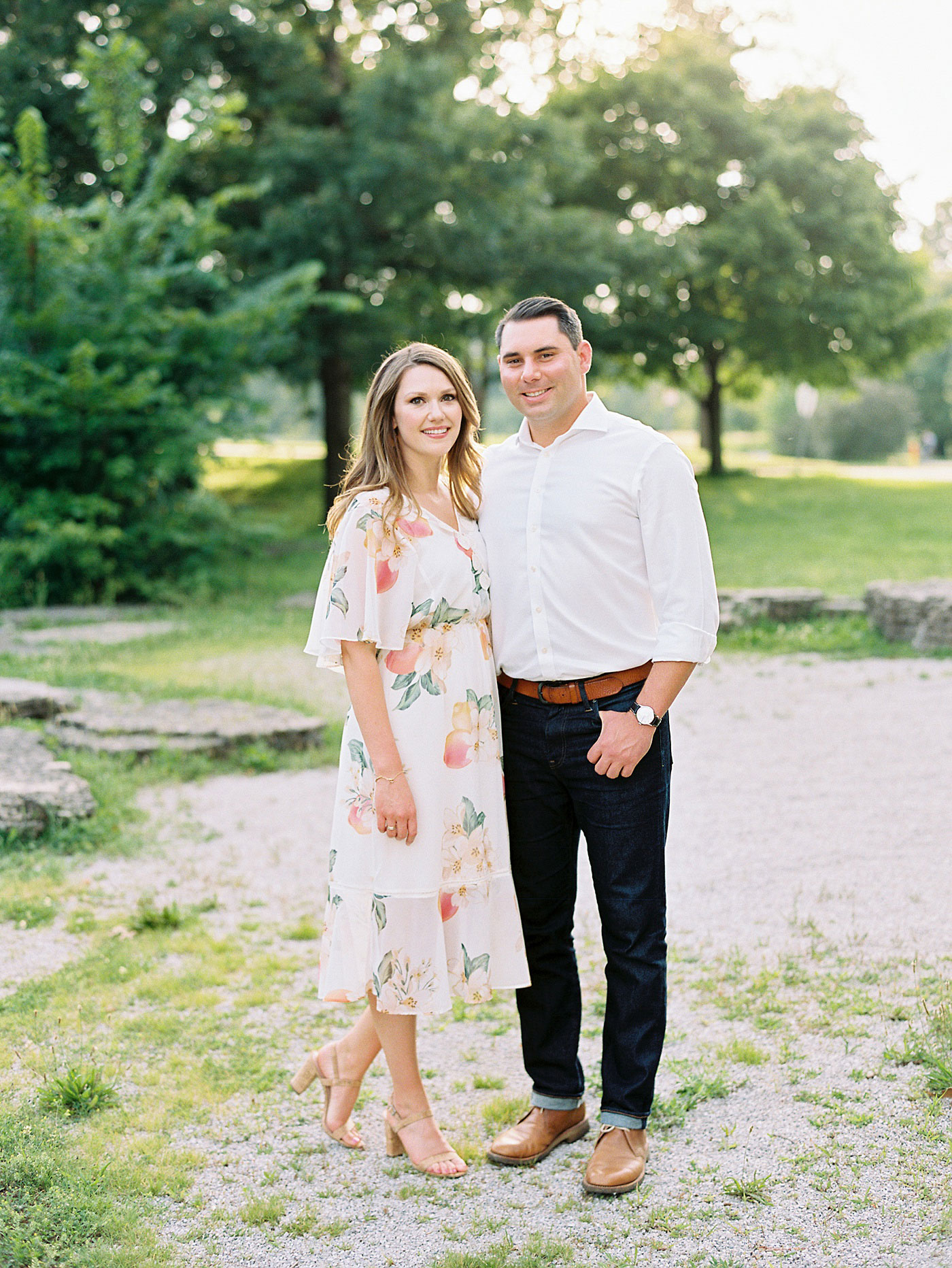 romantic engagement session in forest park
