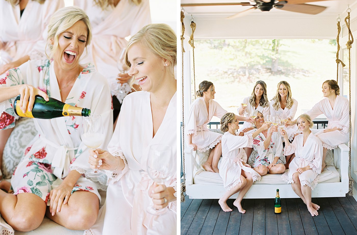 bride and bridesmaids at sunflower hill farm