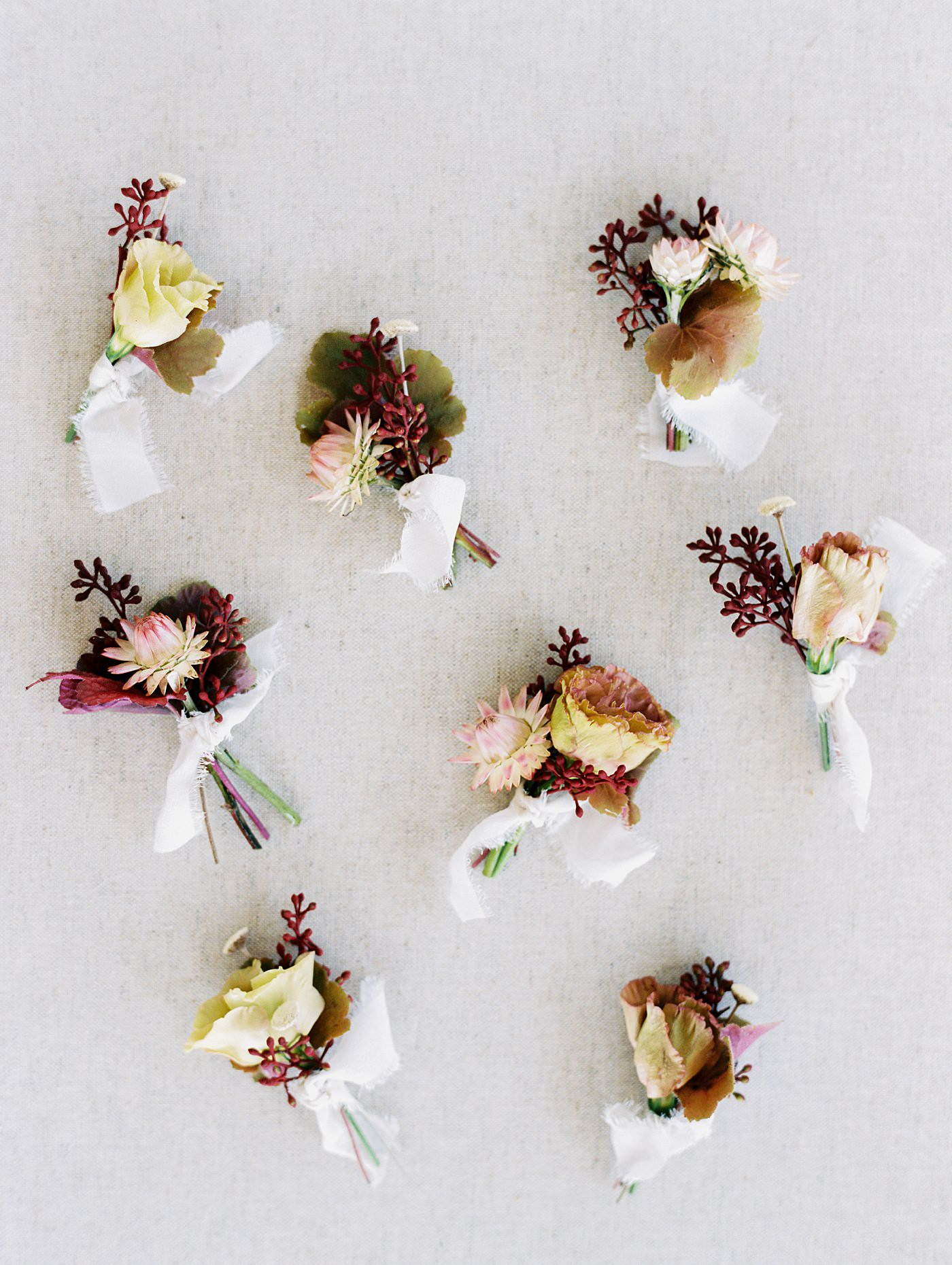 boutonnieres flat lay