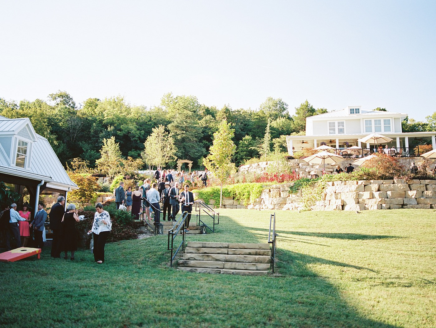 cocktail hour at sunflower hill farm wedding