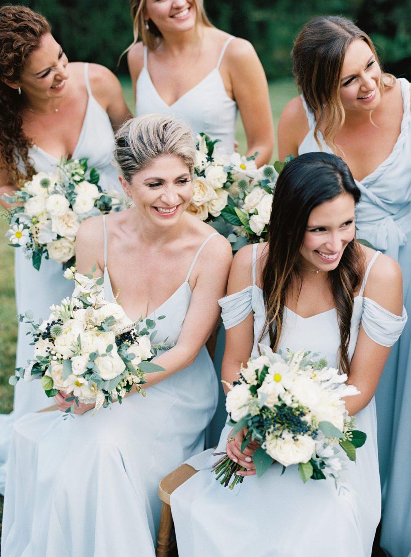 laughing bridesmaids at busch mansion