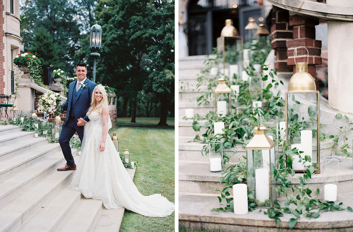 bride and groom at busch mansion