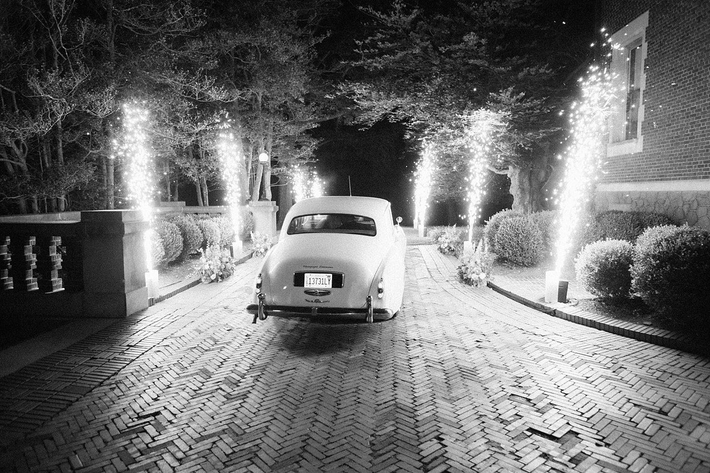 classic car wedding exit