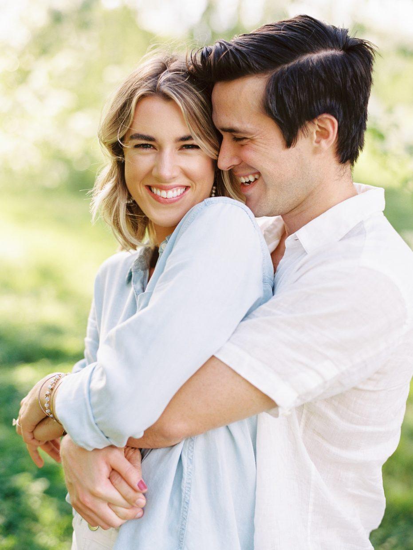 joyful couple engagement